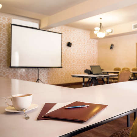 big screen: Image of elegant conference room interior with big screen Stock Photo