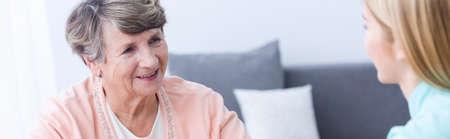 happy seniors: Senior happy elegant woman in nursing home