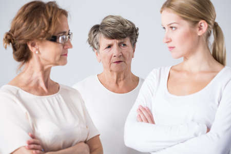 stubborn: Picture of conflict between stubborn mother and daughter