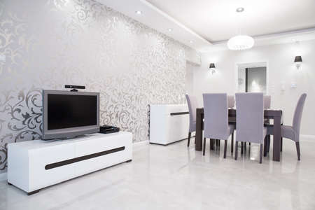 interior wallpaper: Shining silver wallpaper in exclusive modern residence Stock Photo