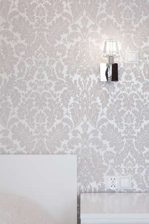 grey pattern: Shining silver wallpaper in modern exclusive interior