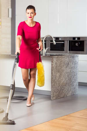 house maid: Perfect housewife with vacuum cleaner and feather duster