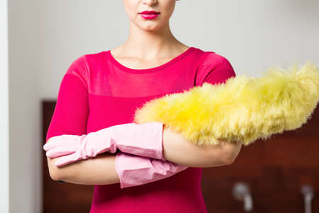house maid: Perfect cleaning lady with feather duster and gloves