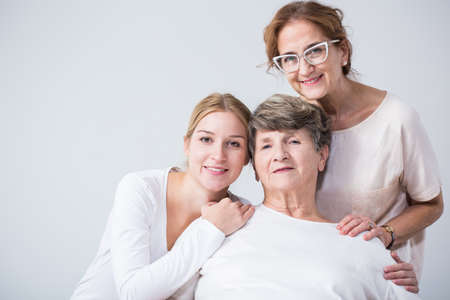 three women: Image of intergenerational family relation between happy women Stock Photo