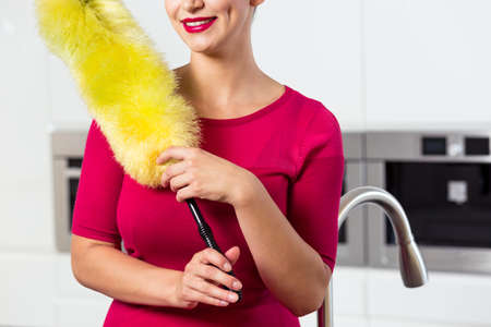 house maid: Maid with feather duster in the kitchen