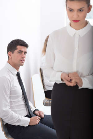 company job: Image of stressed woman before job interview in business company