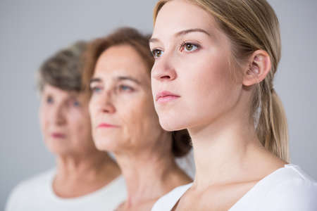 3 generation: Image of family relation between three beautiful women Stock Photo
