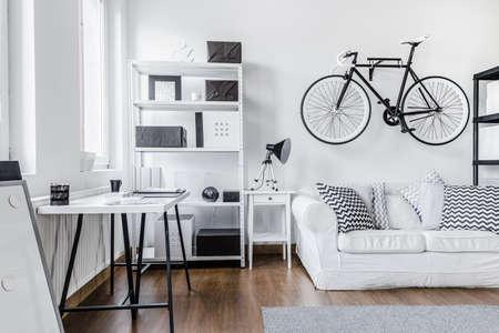 Trendy minimalist black and white studio flat Stock Photo