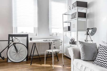 arrangement: Minimalist arrangement for black and white studio flat