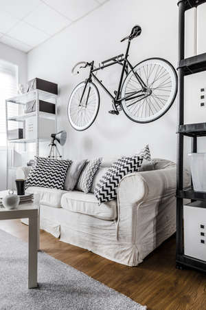 original bike: Minimalist hipster space with bicycle on wall