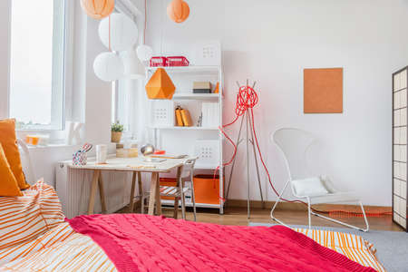 room decorations: Interior of modern room for teenage girl