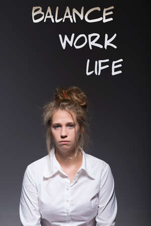 overpowered: Overworked woman and balance work life writing