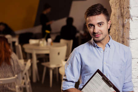 enterprising: Picture of young and creative self-employed restaurant owner