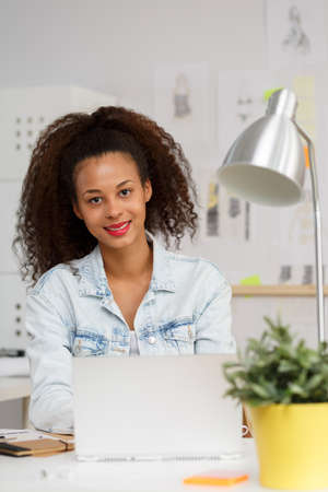 work worker: Image of self-employed creative worker during work