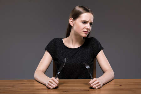 starving: Photo of sick female with anorexia starving Stock Photo