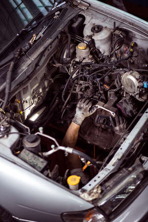 bonnet: Photo of open car bonnet without engine