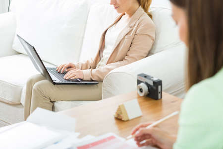 selfemployed: Image of two self-employed creative woman during work Stock Photo