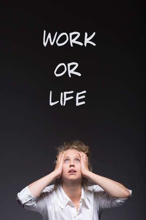 workaholic: Workaholic woman and work or life writing