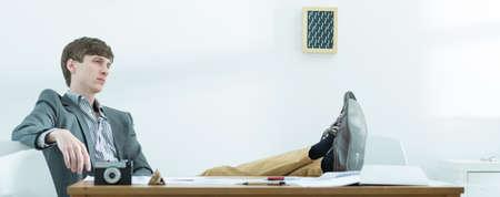 work worker: Image of ambitious creative worker having break at work