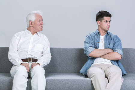 generation: Image of intergenerational family conflict between father and son