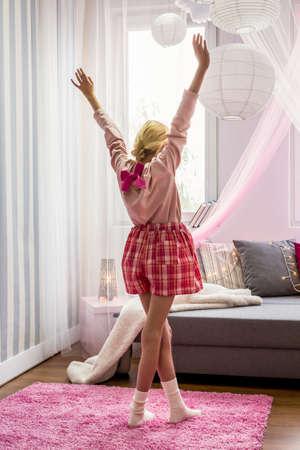 teen girl: Blonde teen girl in her dreaming room