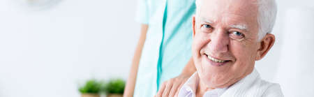 he old: Man is very old and he needs healthcare Stock Photo