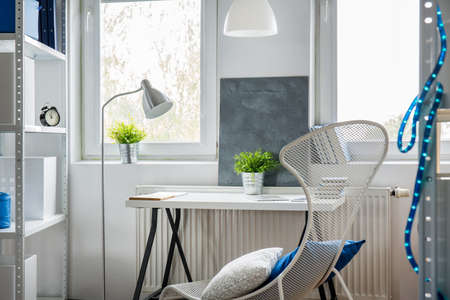 White and stylish work place for young person Reklamní fotografie
