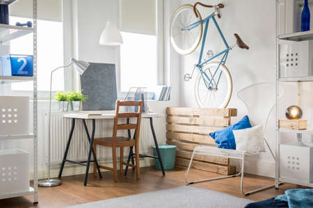 nice weather: Light and modern style in the studio flat Stock Photo
