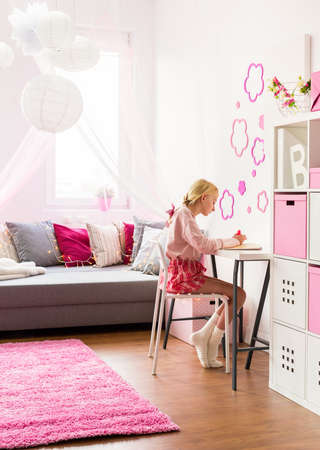 room decoration: Image of cute girl in beauty room