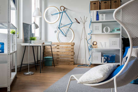 functional: Comfortable and functional studio flat for young person Stock Photo