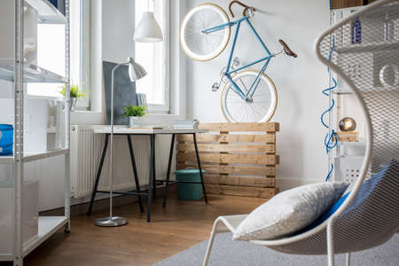 home accessories: Roomy and light space in new studio flat Stock Photo
