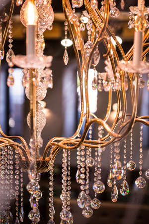 crystal chandelier: Close up of luxurious crystal chandelier from fancy restaurant Stock Photo