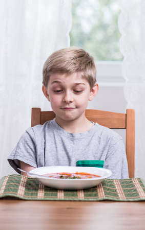 fussy: Photo of small picky eater during meal