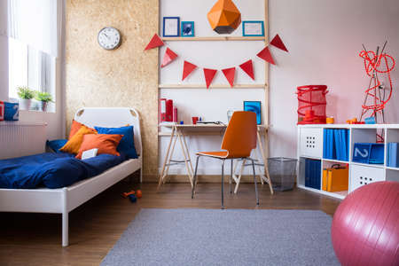 Image of new child bedroom and study room combination Foto de archivo