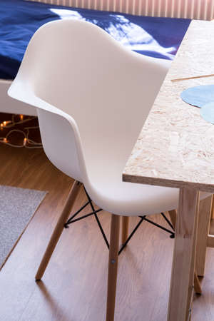 comfy: Close up of white comfy desk chair in kid room Stock Photo