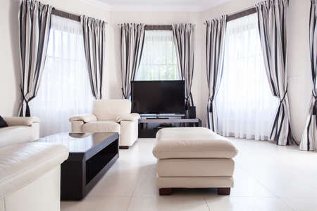 home furniture: Black and white modern living room design