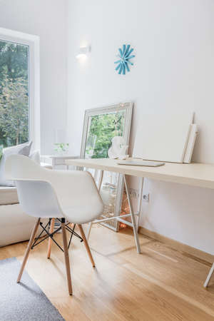 home office interior: Image of new home office interior with white furniture