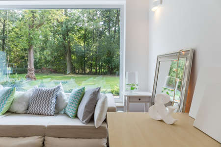big window: Photo of new design light room with big window
