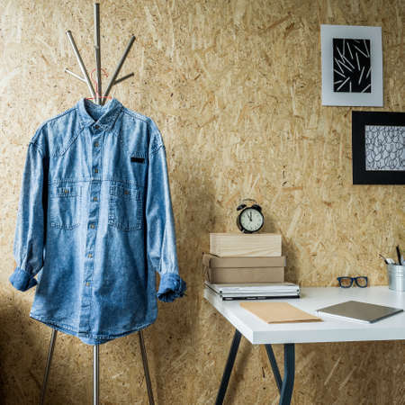 room wall: Minimalist room and trendy wall made of fibreboard Stock Photo