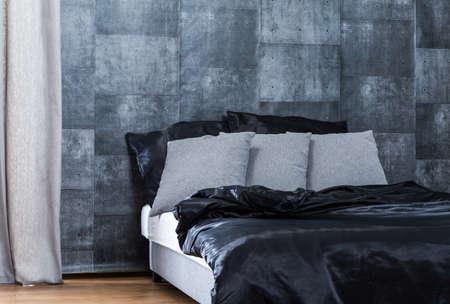 concrete: Concrete wallpaper in modern gray and black bedroom