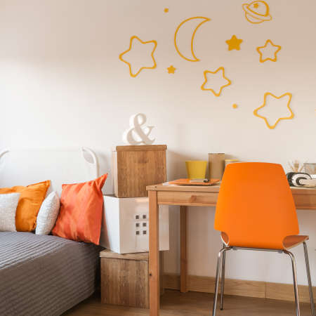 Star wall decor in modern childish room