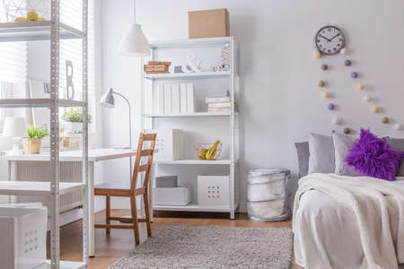 room decor: Interior of cozy bedroom for young woman
