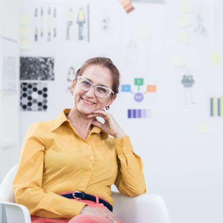 experienced: Woman is very glad because of her modern business