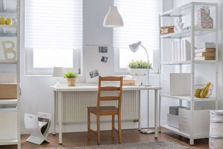 Study Desk: White and brown decor of teen room