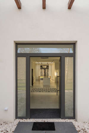 Simple and modern glass door in the house