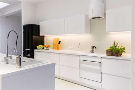 minimalist apartment: Sterile and light kitchen in the house