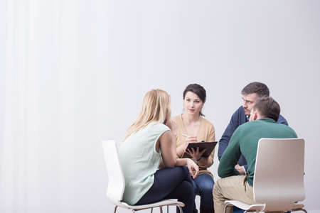 During group therapy people are sitting in the circle