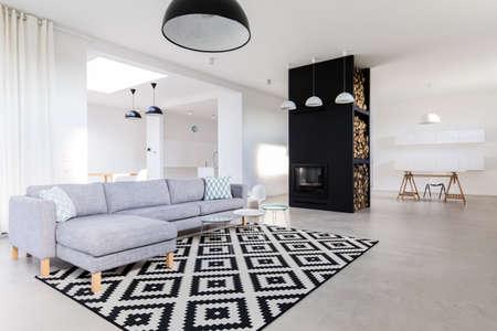 家の中で広々 とした上品なリビング ルーム 写真素材