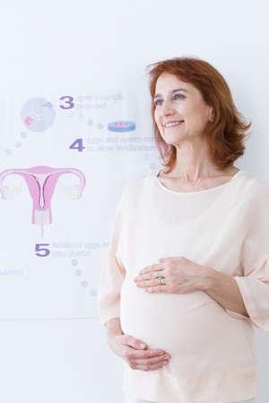 probeta: feliz mujer de mediana edad y en el embarazo in vitro