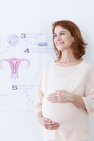 Middle aged happy woman and in vitro pregnancy